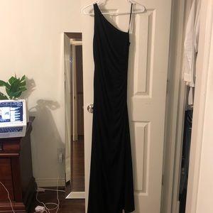 Black one shoulder gown